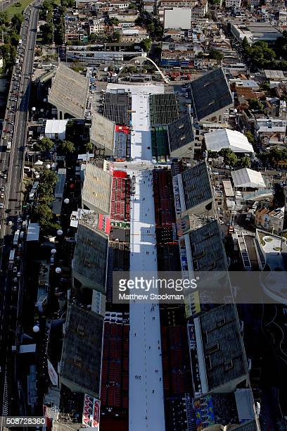 Aerial view of the Sambodromo with six months to go to the Rio 2016 Olympic Games on February 5 2016 in Rio de Janeiro Brazil The Sambodromo will...