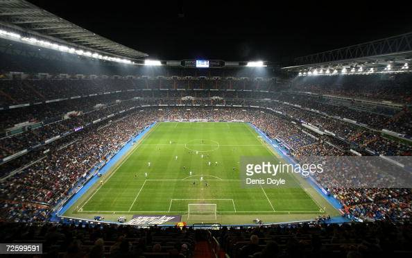 Aerial view of the Santiago Bernabeu stadium the Primera Liga match between Real Madrid and Racing Santander on November 18 2006 in Madrid Spain