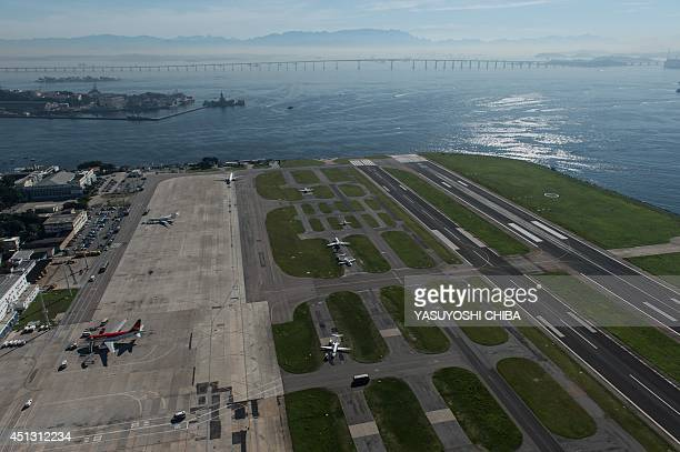 Aerial view of the Santos Dumont airport in Rio de Janeiro Brazil taken on June 26 2014 AFP PHOTO / YASUYOSHI CHIBA