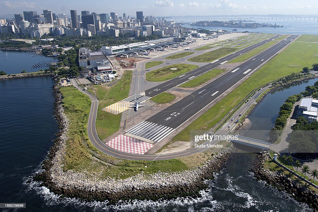Aerial view of the Santos Dumont Airport on May 10, 2013 in Rio de Janeiro, Brazil.
