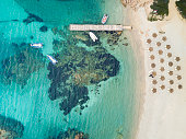 Aerial view of the Sardinian Emerald Coast, with its turquoise sea. Costa Smeralda in Sardinia Island, is one of the most beautiful and famous coasts in the world