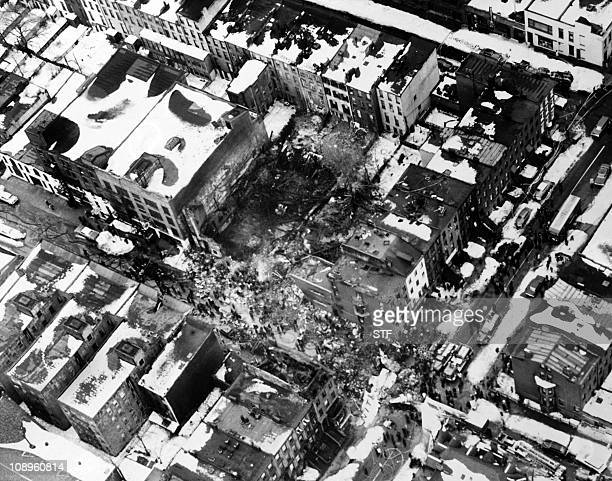 Aerial view of the scene of the plane crash on Brooklyn on December 18 1960 after a collision between two airliners United Airlines Flight 826 and...