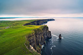 Aerial view of the scenic Cliffs of Moher in Ireland. This popular tourist attraction is situated in County Clare along the Wild Atlantic Way.