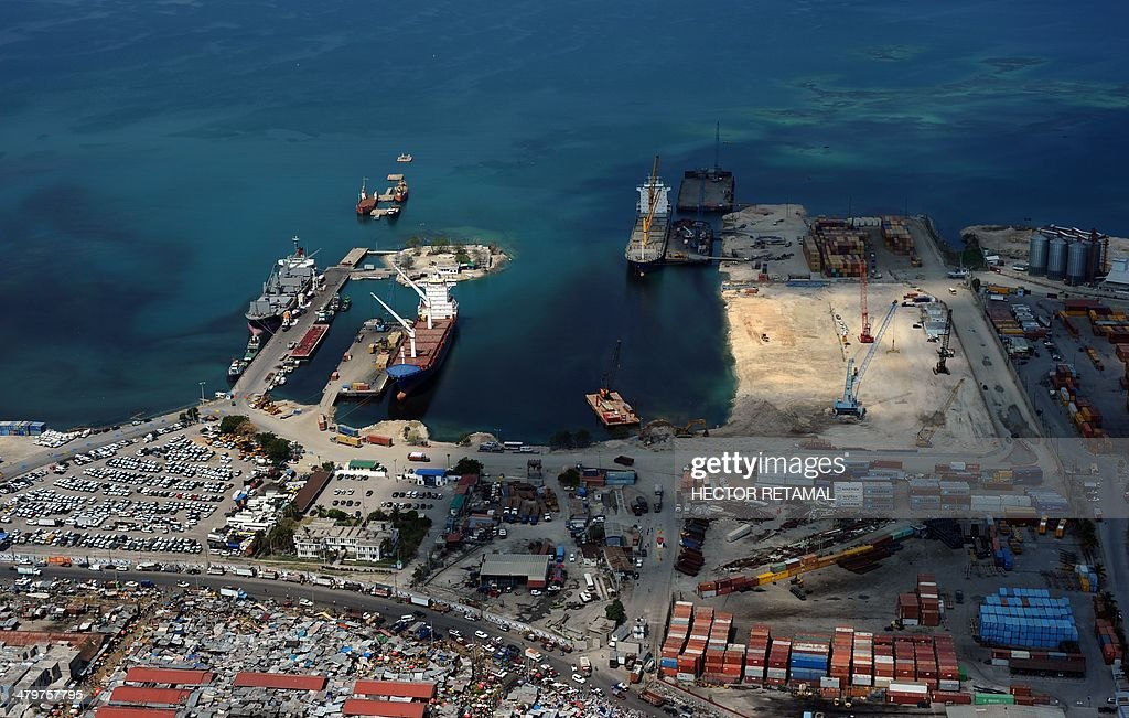 Aerial View of the Seaport Terminal of PortauPrince on March 20 2014 AFP PHOTO/Hector RETAMAL
