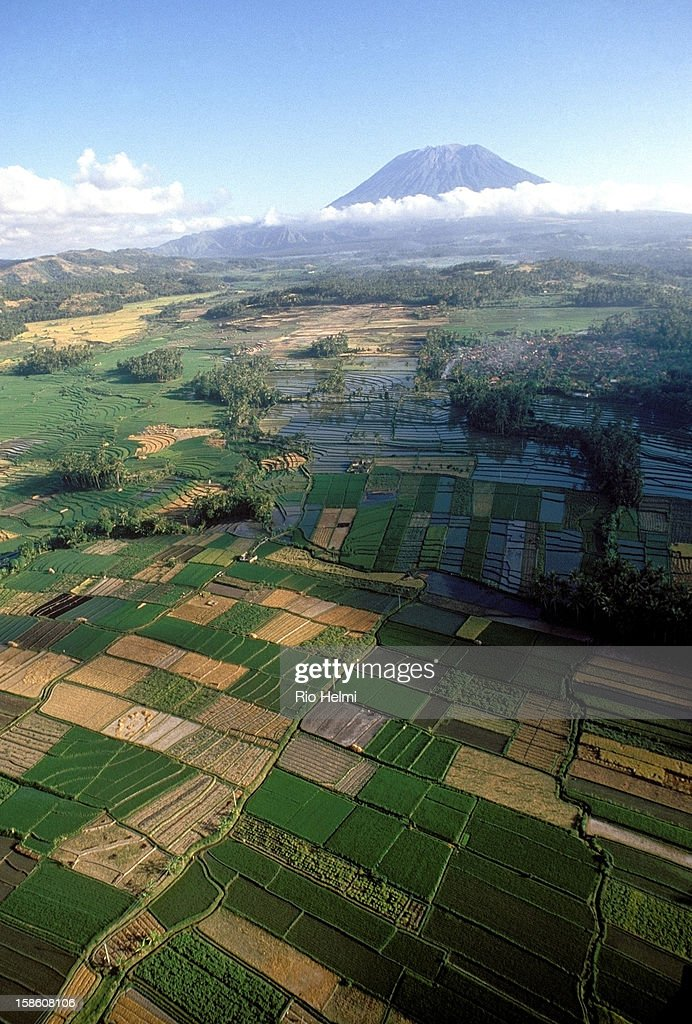 Aerial view of the Sidemen valley, leading up to Mt Agung in east Bali..