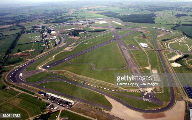 Aerial view of the Silverstone motor racing circuit Martin Brundle Chairman of the British Racing Drivers Club and British motor sport chiefs today...