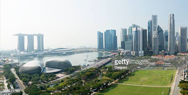 Aerial View of the Singapore City Skyline