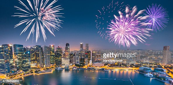 Aerial view of the Singapore Skyline and Marina Bay
