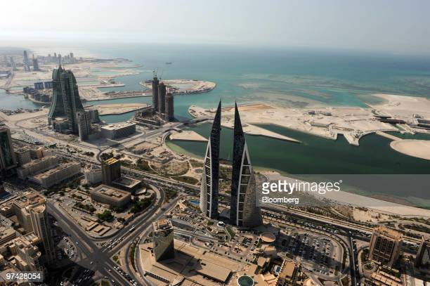 Aerial view of the skyline of Manama Bahrain on Thursday Sept 24 2009 Bahrain's economy will grow 35 percent to 4 percent in 2010 keeping the same...