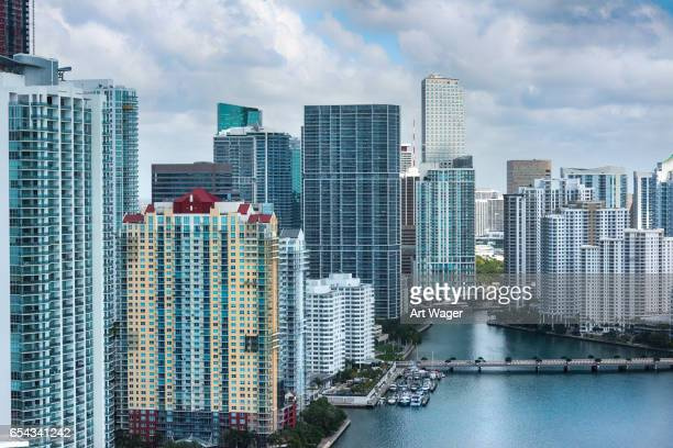Aerial View of the Skyscrapers in Downtown Miami Florida
