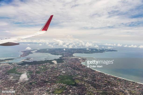 Aerial view of the south part of the island of Bali in Indonesia
