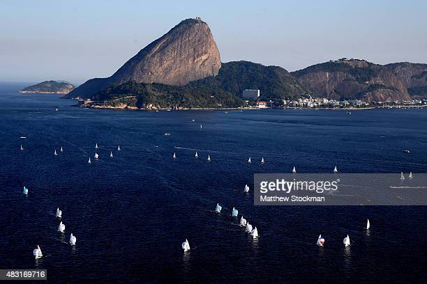Aerial view of the Sugar Loaf and Guanabara Bay with one year to go to the Rio 2016 Olympic Games on August 5 2015 in Rio de Janeiro Brazil