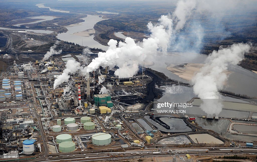 Aerial view of the Suncor oil sands extraction facility near the town of Fort McMurray in Alberta on October 23 2009 Greenpeace are calling for an...