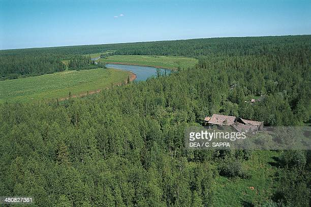 Aerial view of the surroundings of Igarka with the ruins of a gulag Siberia Russia
