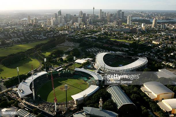 A aerial view of the Sydney Cricket Ground and the Sydney Football Stadium on February 24 2008 in Sydney Australia The Sydney Cricket Ground played...