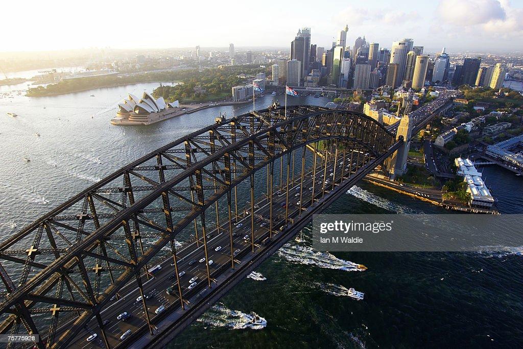 Aerial view of the Sydney Harbour Bridge, the Sydney Opera House and Sydney City Australia : Stock Photo