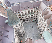 Aerial view of the the inner courtyard of the Munich townhall, Germany