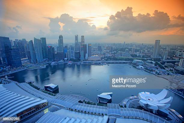 Aerial view of the the Singapore bay