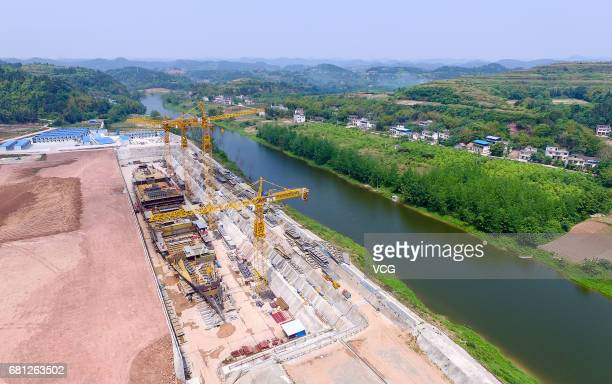 Aerial view of the Titanic replica under construction on May 9 2017 in Suining Sichuan Province of China The fullsize replica of sunken cruise ship...