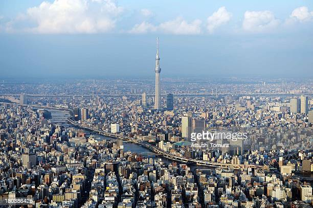 Aerial view of the Tokyo Skytree on September 12 2013 in Tokyo Japan Tokyo was selected as the site of the 2020 Olympics