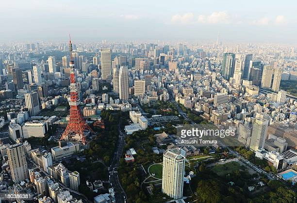 Aerial view of the Tokyo Tower on September 12 2013 in Tokyo Japan Tokyo was selected as the site of the 2020 Olympics