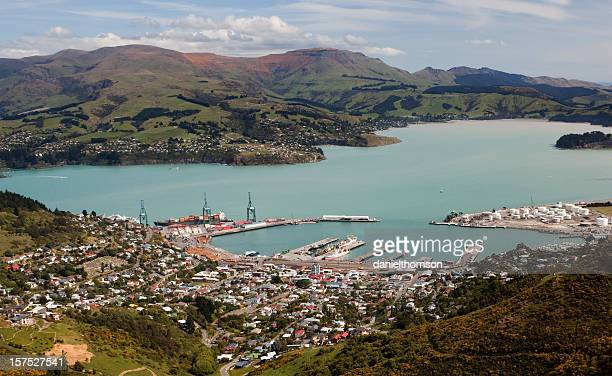 Aerial view of the town of Lyttelton, Cantebury in NZ