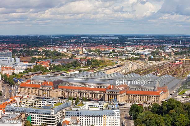 空から見た鉄道駅で、ライプチヒ(ドイツ)