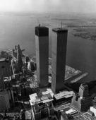 Aerial view of the Twin Towers of the World Trade Center during its construction in lower Manhattan New York City 1971