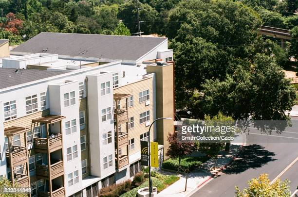 Aerial view of the unincorporated town of Contra Costa Center including apartment buildings and roads part of Walnut Creek California July 26 2017
