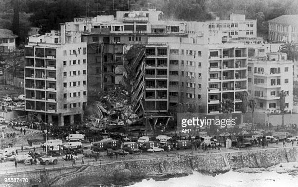 Aerial view of the United States embassy in Beirut 18 April 1983 after a bomb destroyed part of the building The whole front center section of the...