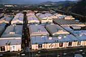 Aerial view of the Universal Studios Warner Bros Burbank CA United States circa 1970s