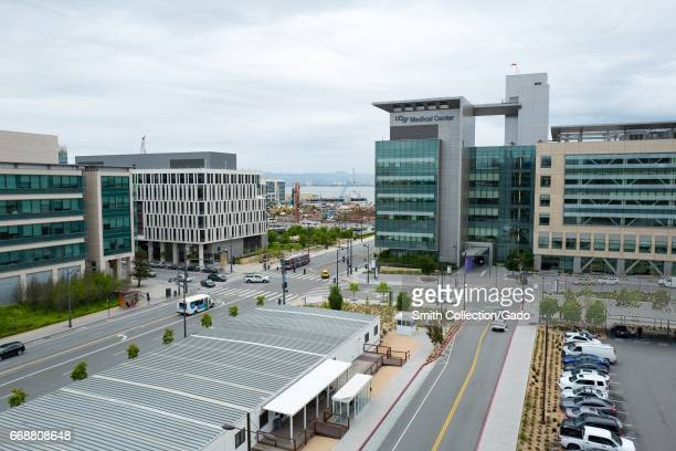 Aerial view of the University of California San Francisco medical campus at Mission Bay with cars in a parking lot San Francisco California April 6...
