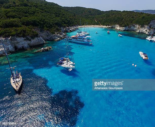 Aerial view of The Voutoumi beach on August 08 2015 in Anti Paxos GreeceVoutoumi is pebbled beach located on the north eastern side of Antipaxos...