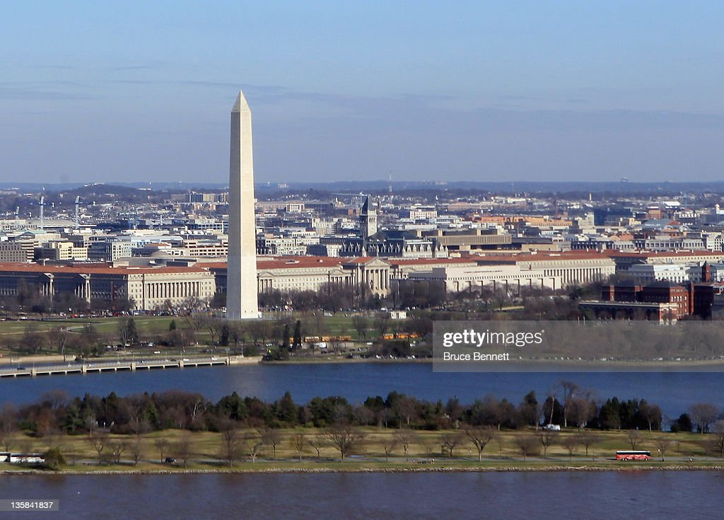 A aerial view of the Washington Monument photographed on December 9 2011 in Washington DC