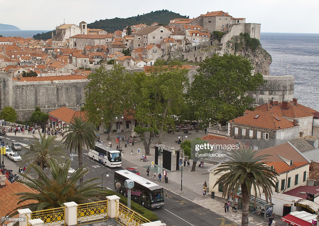 Aerial view of the western gate with its ancient monuments and restored buildings of the UNESCO World Heritage Site city of Dubrovnik on the Dalmatian coast of the Adriatic Sea on May 13, 2011 in Dubrovnik, Croatia. The old town is surrounded by a 1,9 km long city wall and called the Pearl of the Adriatic.