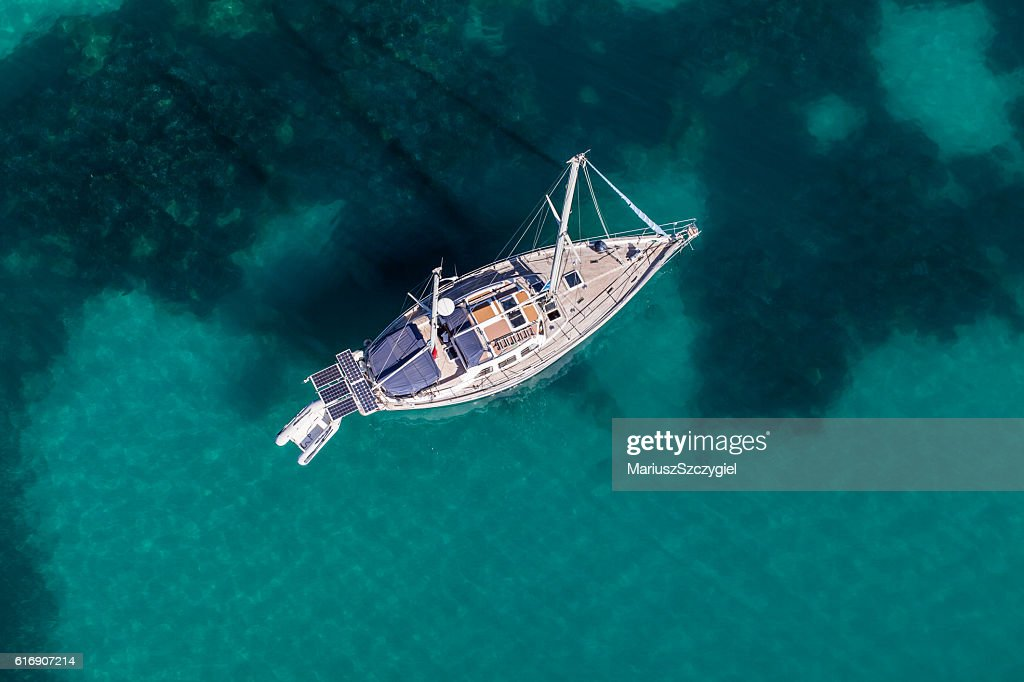 aerial view of the yacht on the Greece coast line : Stock Photo