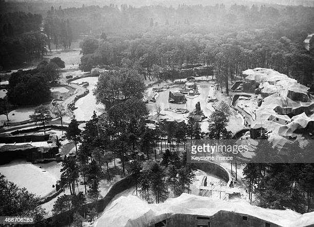 Aerial view of the Zoo de Vincennes in 1934 in Paris France