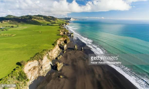 Aerial View Of Three Sisters, North Taranaki, New Zealand.