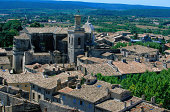 Aerial View of Tile Roofed Buildings in Uzes