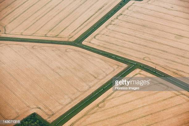 Aerial view of tilled crop fields