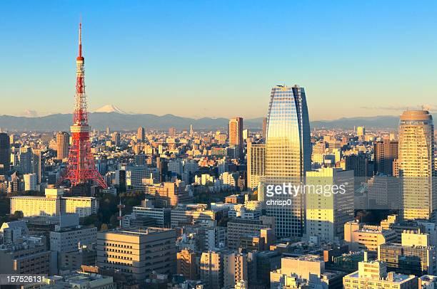 上空から見た東京と富士山の日の出