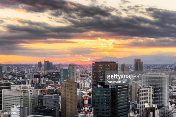 Aerial view of Tokyo at Sunset