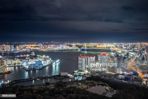 Aerial View of Tokyo Bay at Night