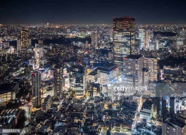Aerial View of Tokyo Midtown at Night