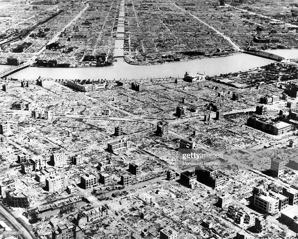 Aerial view of Tokyo razed by American bombing carried out on the evening of March 9th by 334 B29 Super Flying Fortresses Tokyo March 1945