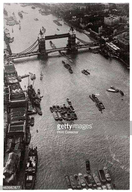 Aerial view of Tower Bridge London from a Zeppelin 1931 A photograph from ZeppelinWeltfahrten Vom ersten Luftschiff 1899 bis zu den Fahrten des LZ127...