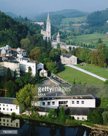 Aerial view of town in Lourdes, France : Stock Photo