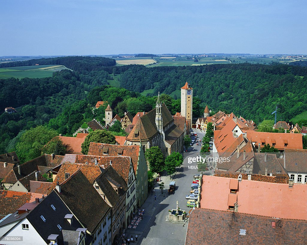 Aerial view of town in Rothenburg, Germany : Stock Photo