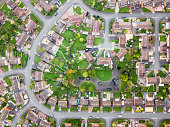 Looking straight down with a satellite image style, the houses look like a miniature village