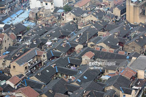 Aerial view of traditional old houses in Shanghai